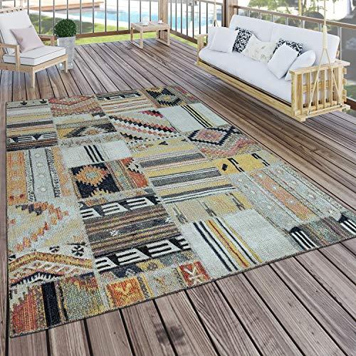 Paco Home In- & Outdoor Teppich Modern Ethno Muster Terrassen Teppich Bunt, Grösse:120x170 cm