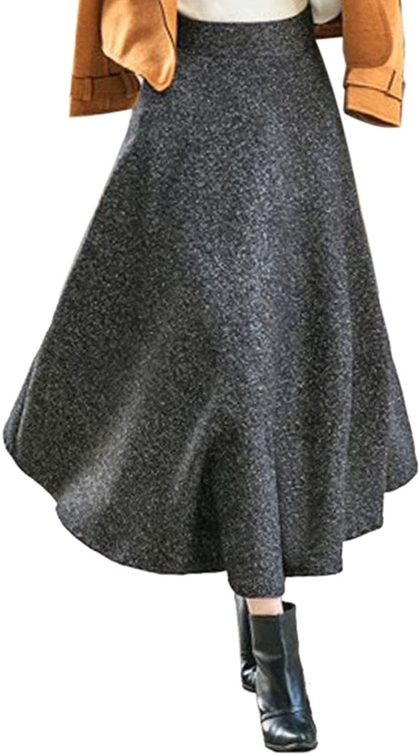 CHARLES RICHARDS CR Women's High Waist Aline Flared Long Skirt Winter Fall Midi Skirt