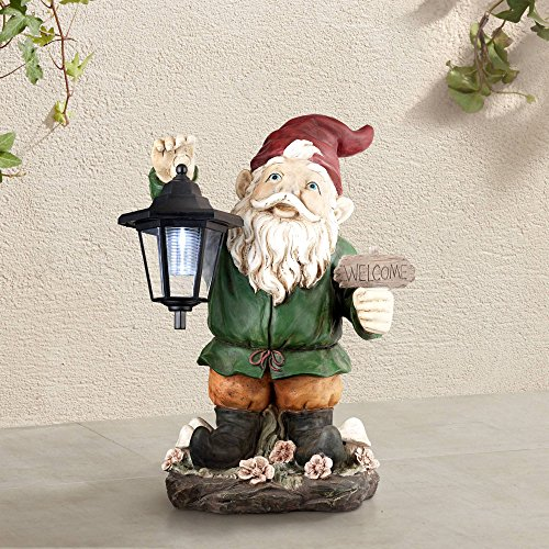 "Welcome Gnome w/solar Lantern16"" High Outdoor Garden Statue"
