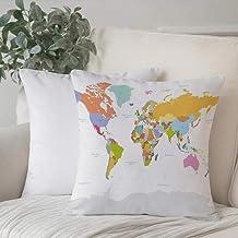 Funda de Cojín duradero Fundas de Almohada Decorativa,Mapa, Mapa político altamente detallado del mundo Sistema de posicionamiento global Gráfico C,Funda de Cojín con Cremallera Invisible 45 x 45 cm