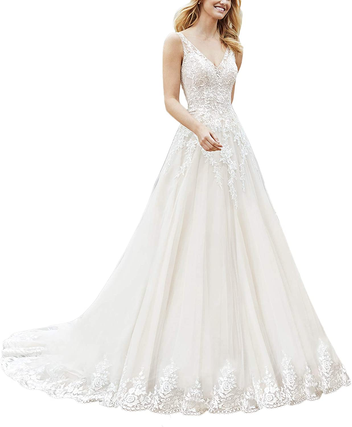 Yisha Bello Women's Long Tail VNeck Lace Wedding Dress for Bride Long ALine Tulle Bridal Gown
