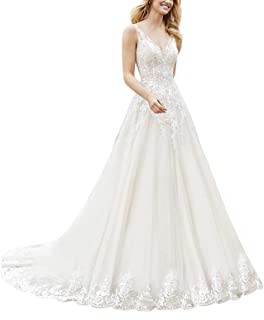 Women's Long Tail V-Neck Lace Wedding Dress for Bride Long A-Line Tulle Bridal Gown