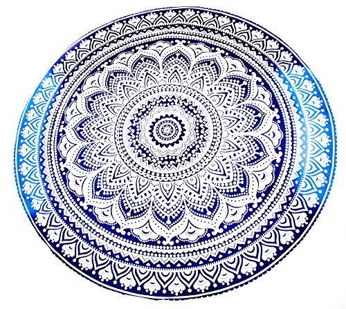 Chic Vibe Große Auswahl Sarong Pareo Wickelrock Standtücher Schals Handtuch Vintage Look Rund Strandtuch im Mandala Design Strandlaken Roundie Duschtuch Badetuch (Modell A)