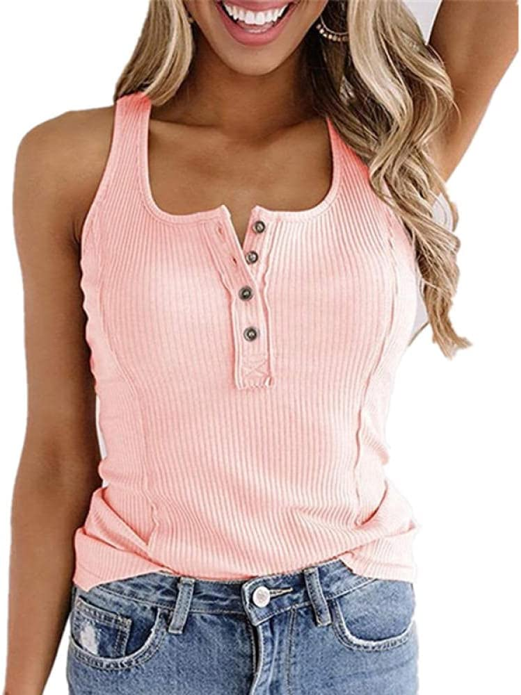 JIAJING Women's Summer Solid Color Elastic Vest Ladies Sexy Button V-Neck Top Fashion Sleeveless Ladies Casual Vest-Pink_Small