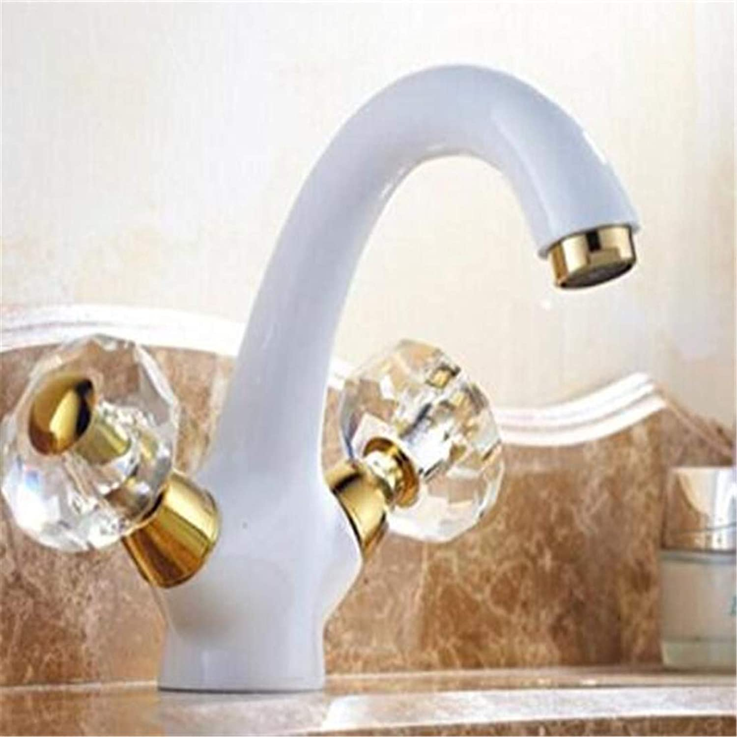 Chrome Kitchen Sink Tap Mounted Hot and Cold White and gold Finished Basin Faucet Sink Mixer Home Decoration