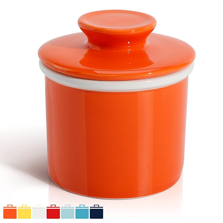 Sweese 3113 Porcelain Butter Keeper Crock - French Butter Dish - No More Hard Butter - Perfect Spreadable Consistency, Orange