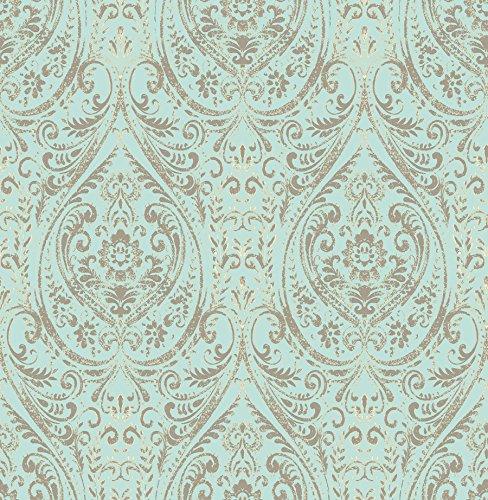 """NuWallpaper NU2079 Nomad Damask Peel and Stick Wallpaper, 10.25"""""""