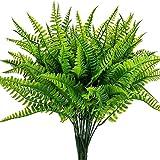 Leixi 6pcs Artificial Plants Fake Plastic Greenery Shrub Bushes UV Resistant Plants Plastic Wheat Grass for Indoor Outdoor Home Garden Decoration (Shurb)