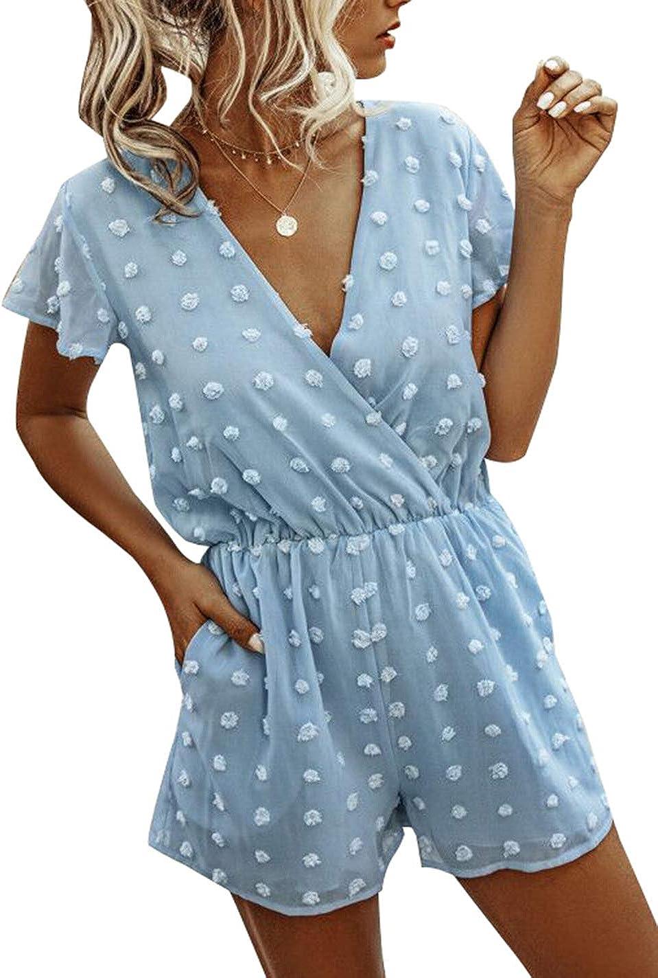 BTFBM Women Fashion Wrap V-Neck Swiss Dot Print Soft Short Sleeve Elastic Waist Plain Summer Shorts Jumpsuit Romper