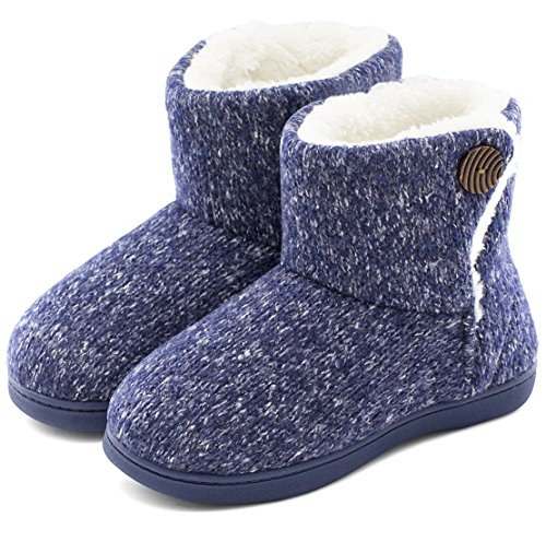 Women's Comfort Woolen Yarn Woven Bootie Slippers Memory Foam Plush Lining Slip-on House Shoes w/ Anti-Slip Sole Indoor, Outdoor, Navy Blue, Medium / 7-8 B(M) US