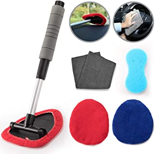 QUEES Windshield Cleaning Tool Aoto Cars Vehicles Interior Exterior with Extendable Handle with 3 Washable Reusable Microfiber Pads 1 Wash Sponge and 1 Microfiber Cloth