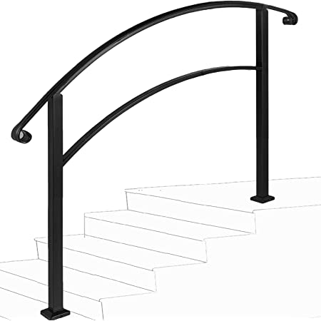 Handrail,4 Step Handrail Adjustable Fits 1 or 4 Steps Mattle Wrought Iron Handrail Stair Rail with Installation Kit Hand Rails for Outdoor Steps,Black