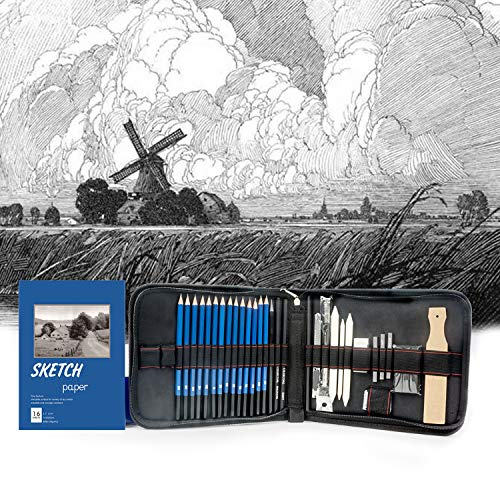 Sketch Pencils Set with Sketchbook, Tickas 35 Piece Professional Drawing Pencils with Sketch Book Kit for Kids, Teens And Adults, Artist Kit Includes Pencils, Erasers, Pastels, Travel-Friendly Case