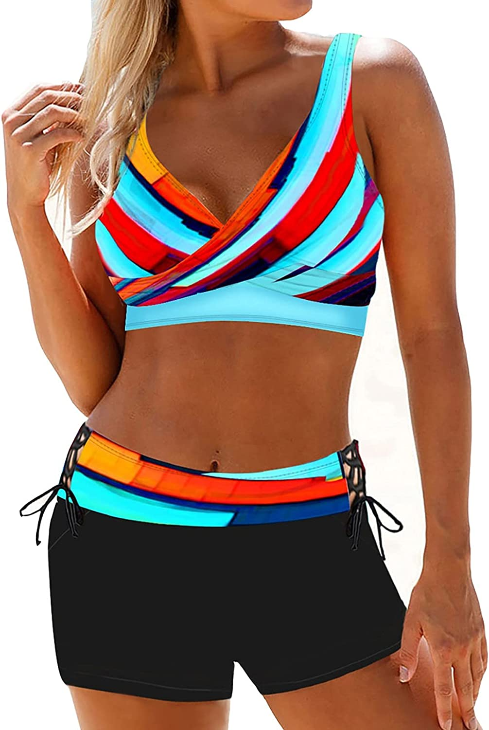 LIYALI Women's Bikini Swimsuits-Two Piece Swimsuit Strappy Tankini Swimsuits for Women with Shorts Drawstring Bathing Suits