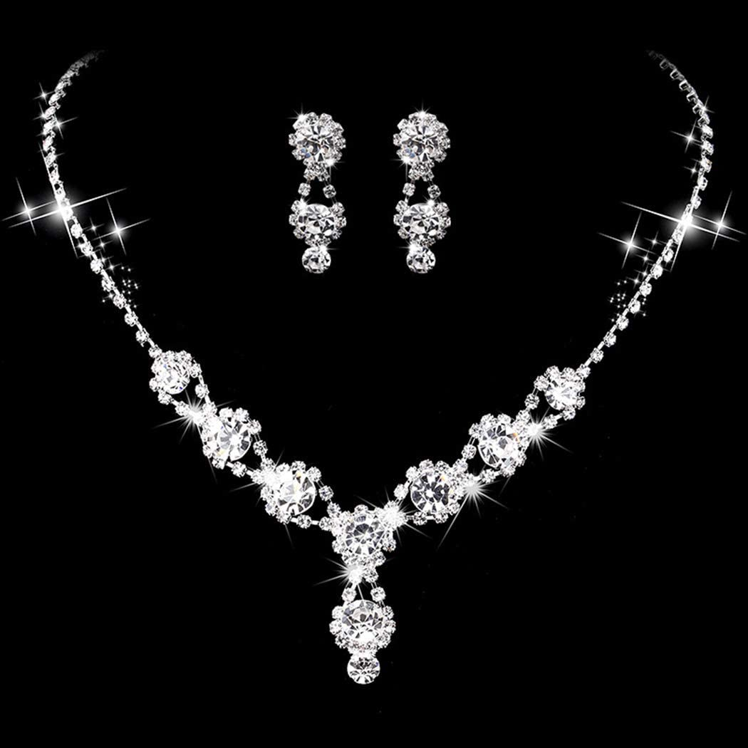 Yikisdy Wedding Bride Crystal Necklace Earrings Set Sliver Necklaces Rhinestone Jewelry Set Bridal Accessories for Women and Girls