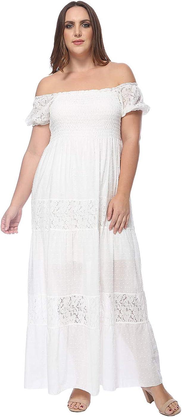 Anna-Kaci Women Plus Size Bohemian Long Maxi Dress Off Shoulder Short Sleeve Lace Semi Sheer