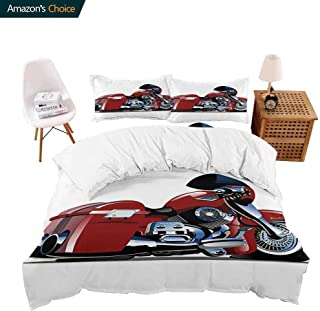 PRUNUSHOME Sleep Restoration Luxury Bed Sheets Cartoon Motorcycle Illustration on White Background Decorative Design Print Ruby and Black Cool Breathable - Twin