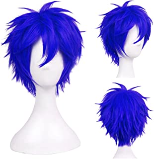Another Me Women Men's Layered Short Straight Wig Short Blue Hair Heat Resistant Fiber Wig Party Cosplay Accessories Fairy Tail