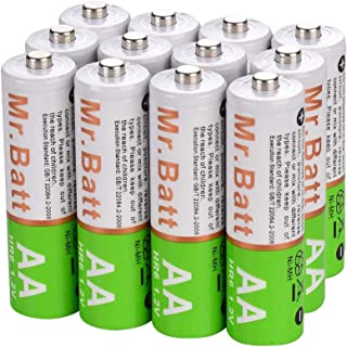 Mr.Batt Rechargeable AA Batteries, 1600mAh 1.2V NiMH AA Batteries Pre-Charged, 12 Pack