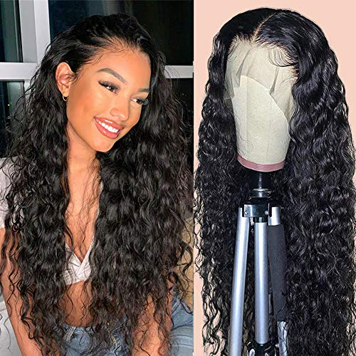 RECOOL 360 Water Wave Lace Frontal Wigs Human Hair Brazilian Wet and Wave Human Hair Wigs Pre Plucked With Baby Hair 100% Unprocessed Virgin Human Hair(18 inches, 150% Density 360 Wig)