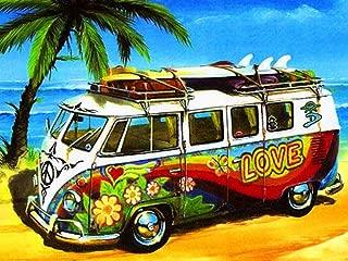 Staroar 5D Diamond Painting Kits for Adults Full Drill Square - Love Beach Bus 44X35CM Cross Stitch Diamond Art