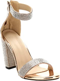 ARIES Womens Ankle Strap Chunky Block High Heel Sandals Cute high Heels Gold Size: 7