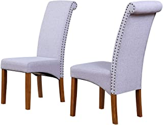 Merax Dining Chair Set of 2 Fabric Padded Side Chair with Solid Wood Legs, Nailed Trim (Light Grey)