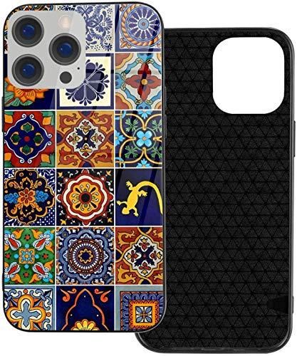 Talavera Mexican Tiles - Carcasa para iPhone 12 Pro Max de moda móvil de cuerpo entero anticaídas de TPU a prueba de golpes de vidrio para mujer