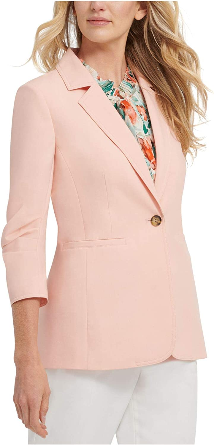 DKNY Womens Ruched 3/4 Sleeve One-Button Blazer