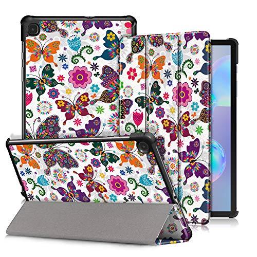 """Xuanbeier Custodia per Samsung Galaxy Tab S6 Lite 10.4"""" SM-P610 SM-P615 Ultra-sottile Cover con Funzione Supporto con Sleep/Wake Automatica,Farfalla"""