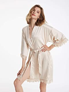 Women's Short Satin Robe with Lace Trim, Kimono Bathrobe for Bride Bridesmaids,Wedding Party Sleepwear