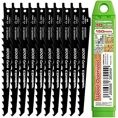 CONBRA® Säbelsägeblätter Holz 10x S617K Säbelsäge Blätter 10-tlg. Sägeblätter für Säbelsäge - Holzsägeblatt 150mm - Tigersäge Sägeblatt - Bosch kompatibel