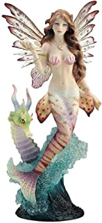Lionfish Mermaid with Seahorse Dragon Statue