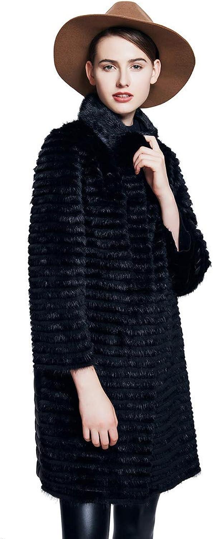 URSFUR Women Winter Fur Jacket Real Mink Rex Rabbit Fur Outwear Coats Black