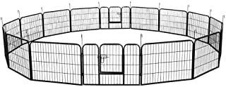 Best YAHEETECH 24/32/40-Inch 8/16/32 Panel Heavy Duty Pet Playpen Dog Exercise Pen Cat Fence with Door Puppy Rabbits Portable Play Pen,Outdoor/Indoor,Black Reviews