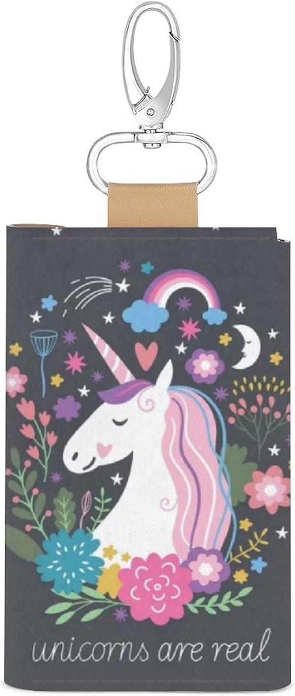 Key Organizer Unicorn Rainbow Cartoon Animal Horse Key Holder Leather Car Key Cover Keychain