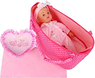 Huang Cheng Toys Alive Lovely Baby 12-inch Doll and Cradle Blanket for Doll Carrier Pretend Play Toy