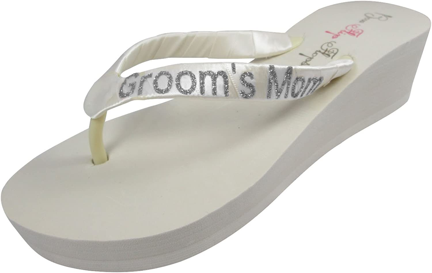 Grooms Mom Ivory Flip Flops with Silver gold Black Glitter Satin Straps