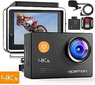 【新型】 APEMAN アクションカメラ 4K高画質 1600万画素 外部マイク リモコン付き WiFi搭載 手ブレ補正40M 水中 防水カメラ 2インチ液晶画面 170度広角 HDMI出力 多数アクセサリー バイクや自転車や車に取り付け可能 スポーツカメラ1050mAh 大容量バッテリー2個付き 防犯カメラ ウェアラブルカメラ [メーカー1年保証]