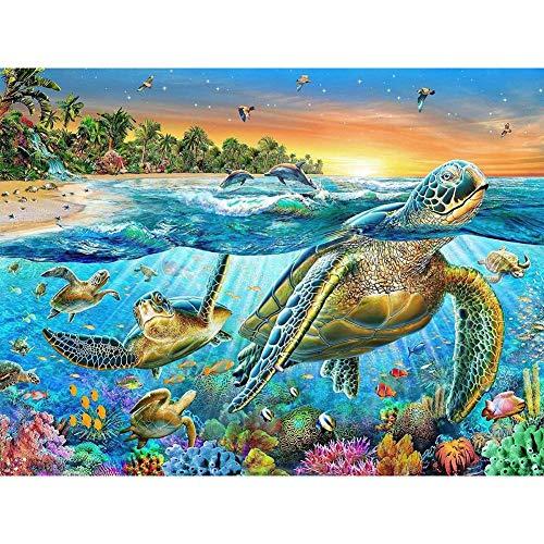 Bdgjln Puzzle 1000 Piezas-Tortuga Marina-Juegos de Rompecabezas para niños, Regalos de Recuerdo para Adolescentes y Adultos.-50x75cm