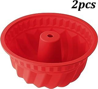 WENTS Molde de Silicona para repostería Magdalenas, tamaño Grande 27cm Rojo, 2pcs