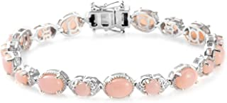 925 Sterling Silver Platinum Plated Oval Pink Opal Bracelet Jewelry for Women Gift Size 6.5