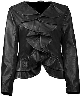 UZ Global Ruffled Bella Black Womens Leather Jacket