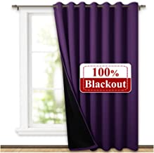 NICETOWN Heat Blocking 100% Blackout Drape, Noise Reducing Performance Slider Curtain Panel with Black Lining, Full Light Blocking Patio Door Drapery (Royal Purple, 1 PC, 100 inches x 84 inches)