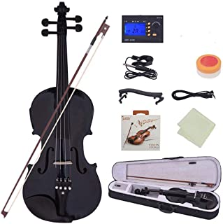 ratiomise Full Size 4/4 Acoustic Violin, Solid Wood Ebnoy Violin with Electronic Tuner, Shoulder Rest, Violin Strings, Vio...