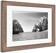 Ashley Framed Prints Sunny Lovers Beach in Cabo San Lucas Mexico, Wall Art Home Decoration, Black/White, 30x35 (Frame Size), Rustic Barn Wood Frame, AG6533836