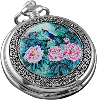 VIGOROSO Quartz Beautiful Peony Bird Enamel Painting Steampunk Silver Pocket Watches in Box