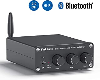 BT20A Bluetooth 5.0 Stereo Audio 2 Channel Amplifier Receiver Mini Hi-Fi Class D Integrated Amp 2.0CH for Home Speakers 100W x 2 with Bass and Treble Control TPA3116 (with Power Supply)