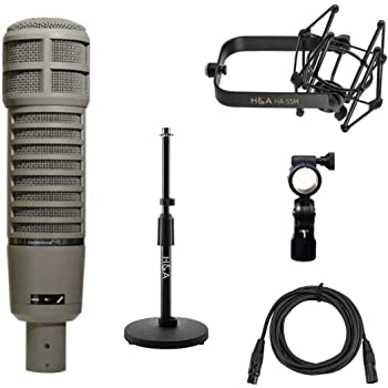 Electro-Voice RE20 Variable-D Dynamic Cardioid Microphone, Telescoping Tabletop Microphone Stand + H&A Microphone Suspension Shockmount + 10' Premium XLR Cable
