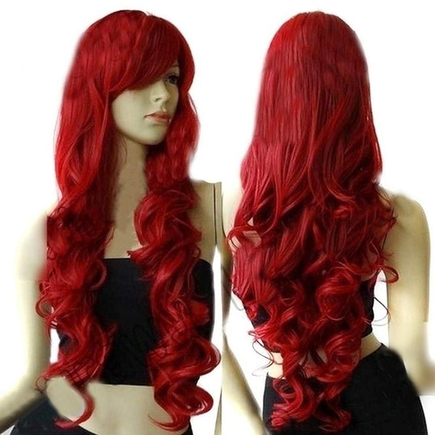 無声でつらい気怠いslQinjiansav女性ウィッグ修理ツールファッション女性ロングカーリーワイン赤ウィッグコスプレパーティーヘアピースヘアエクステンション